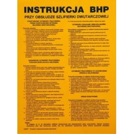 """ANRO Znak Bezpieczeństwa """"Instrukcja BHP przy obsłudze szlifierki dwutarczowej"""""""
