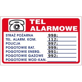 """ANRO Znak Bezpieczeństwa """"Telefony alarmowe"""""""